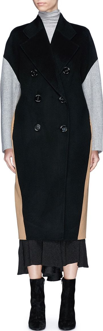 Acne Studios 'Cales' colourblock belted wool-cashmere melton coat
