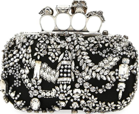 Alexander McQueen Four-Ring Jeweled Skull Clutch Bag