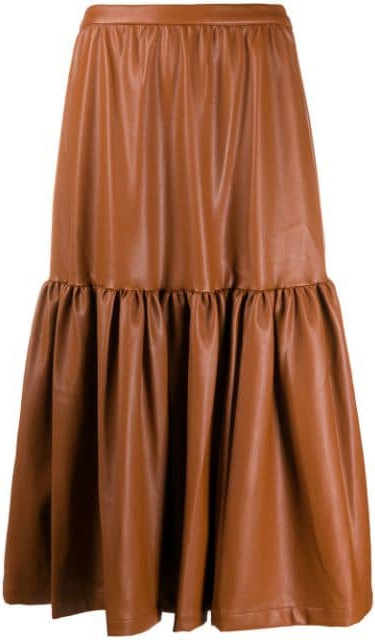 Staud Leather-effect midi skirt