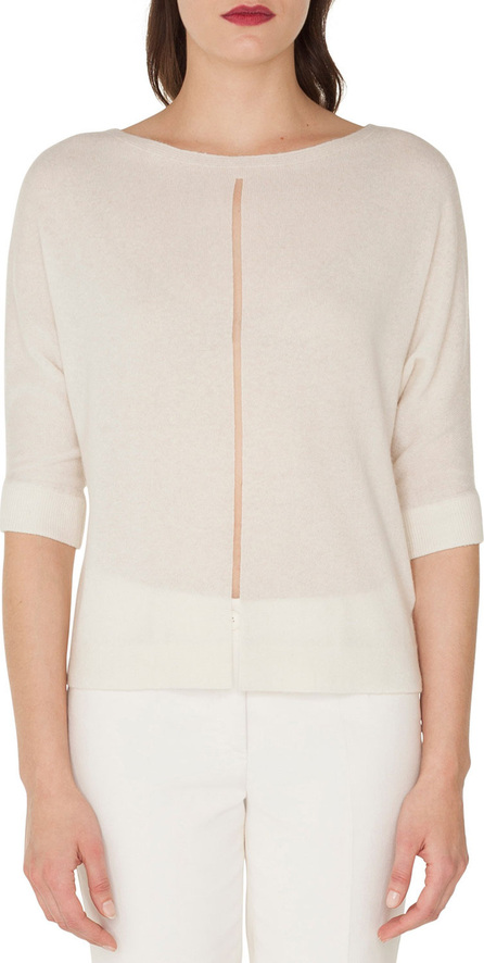 Akris Boat-Neck Elbow-Sleeve Cashmere/Silk Sweater with Tulle Stripe
