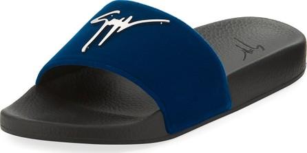 Giuseppe Zanotti Men's Logo Velvet Slide Sandal