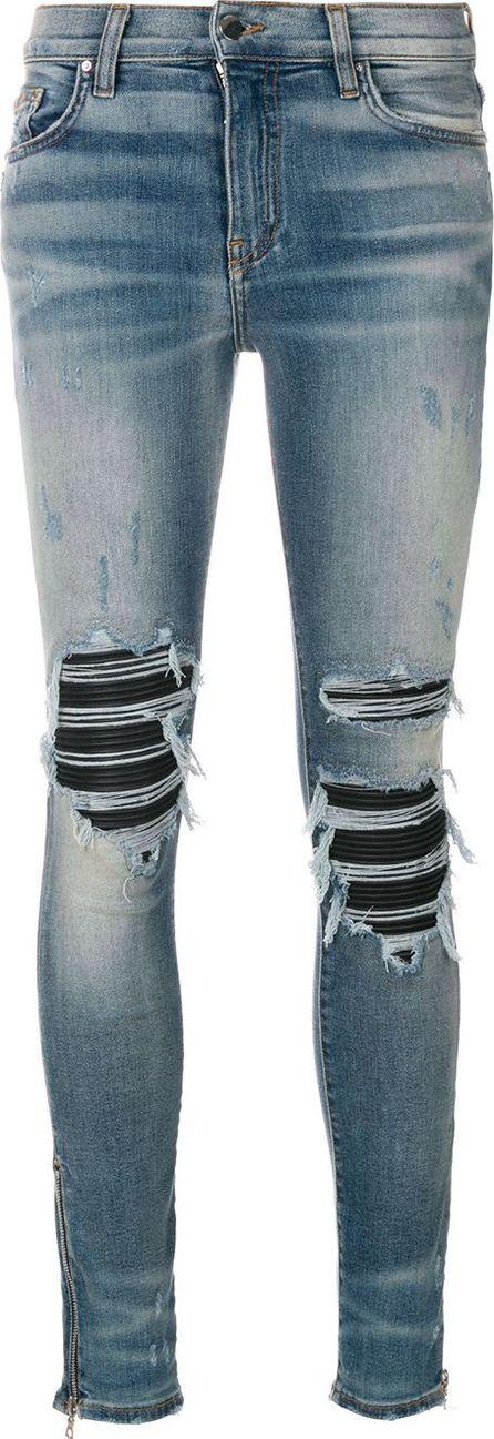 Amiri biker panel distressed skinny jeans