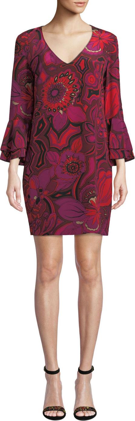 Trina Turk Freeda Floral-Print Silk Dress w/ Double-Trumpet Sleeves