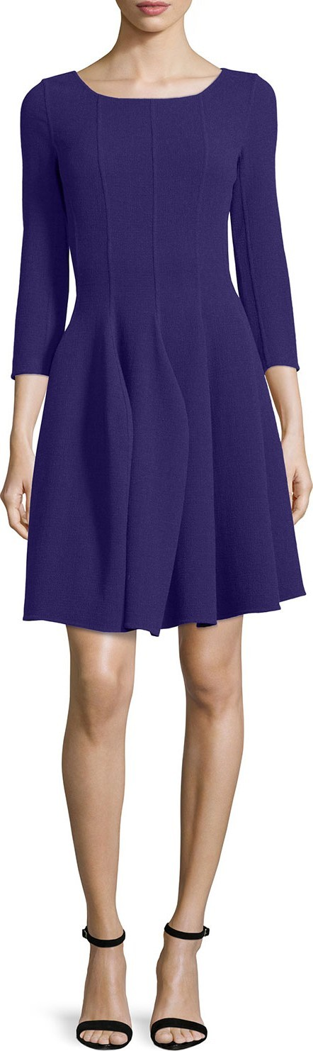 Armani Collezioni 3/4-Sleeve Godet-Pleated Dress, Imperial Purple