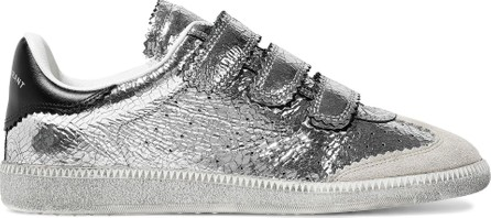 Isabel Marant Beth suede-paneled metallic cracked-leather sneakers