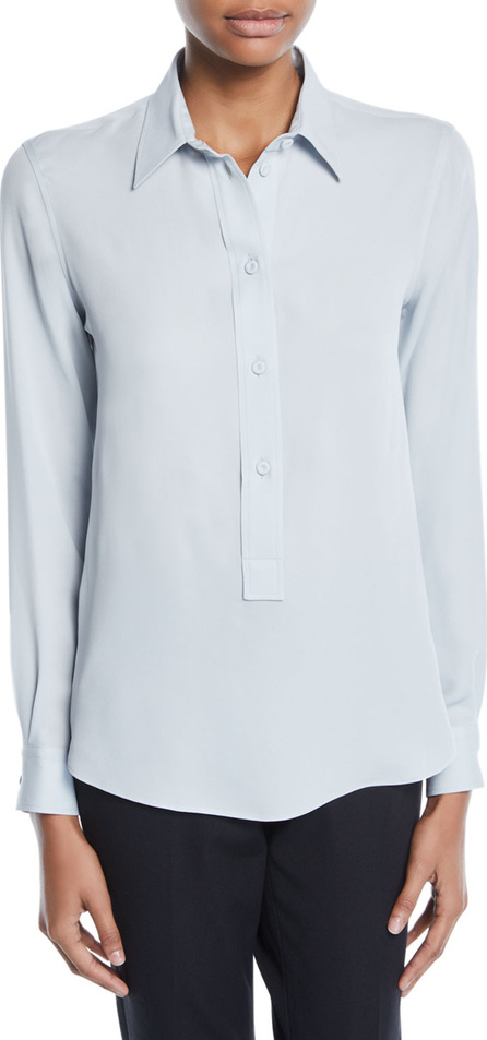 Giorgio Armani Long-Sleeve Button-Front Stretch-Silk Popover Blouse