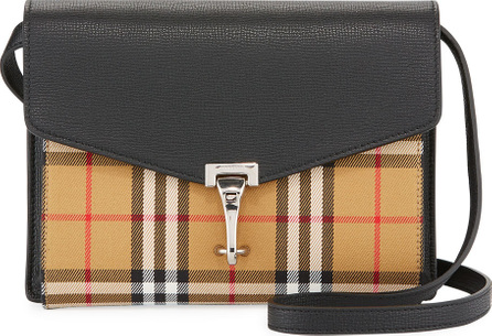 Burberry London England Macken Small Check/Leather Shoulder Bag