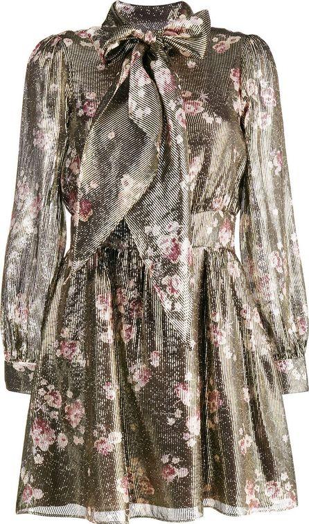 Haney Fabienne Tie Neck Belted Floral Dress