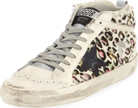 Golden Goose Deluxe Brand Superstar Leopard Calf Hair Mid-Top Sneakers