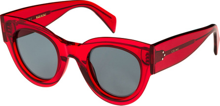 Celine Studded Cat-Eye Acetate International-Fit Sunglasses, Red Pattern