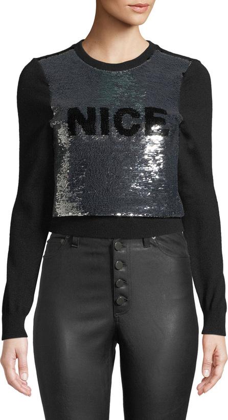 Alice + Olivia Chia Naughty/Nice Flip Sequin Pullover Sweater