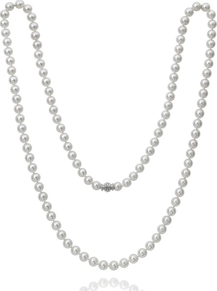"Assael Long Akoya 8mm Pearl-Strand Necklace w/ 18k White Gold, 36""L"