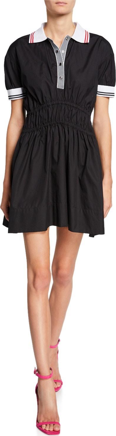 Nº21 Spread Collar Puff-Sleeve Elastic Mini Dress