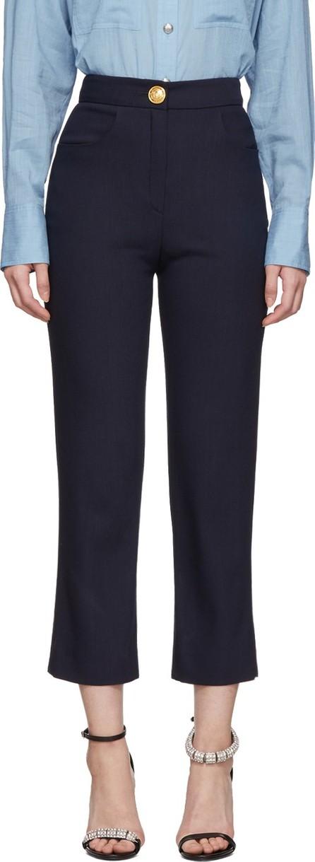 Balmain Navy High-Waist Trousers