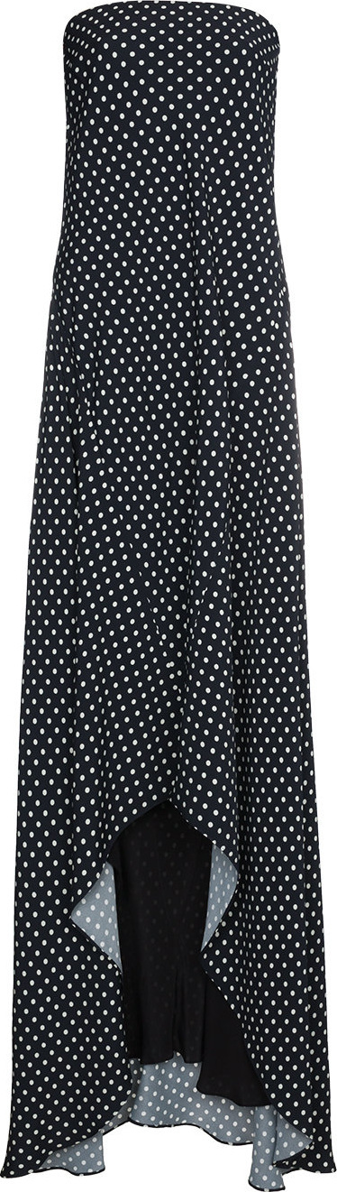 Haider Ackermann Silk polka dot strapless maxi dress