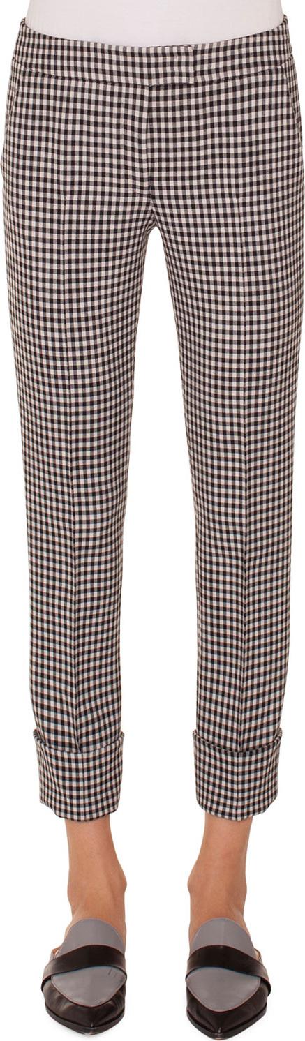 Akris Punto Frankie Check Woven Straight-Leg Crop Pants