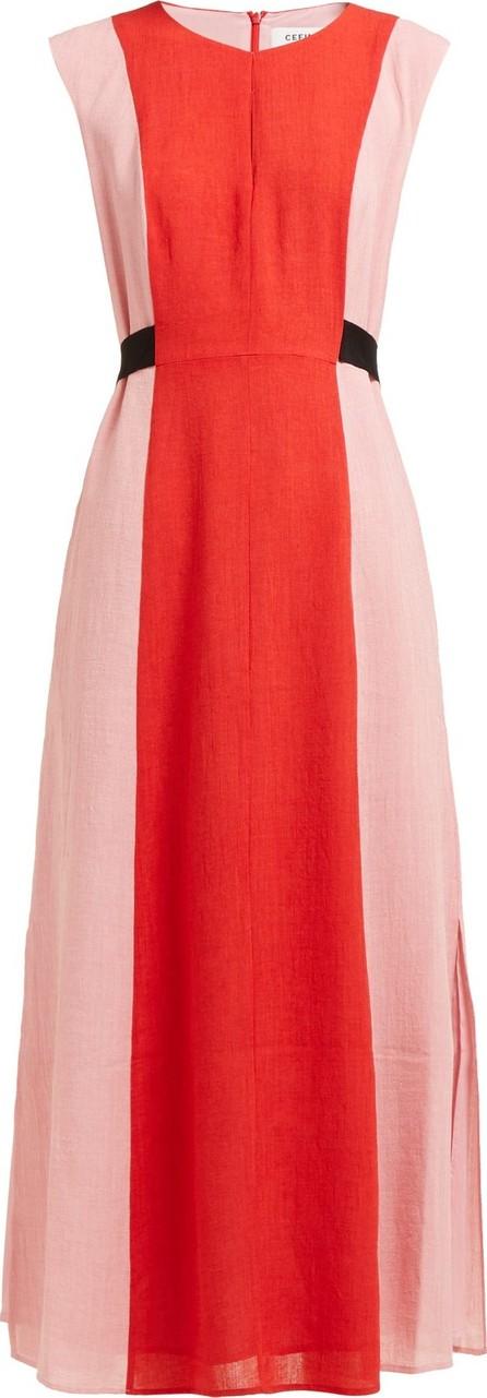 Cefinn Contrast-panel tie-waist voile dress