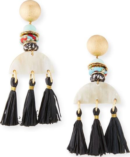 Akola Horn & Tassel Drop Earrings, White