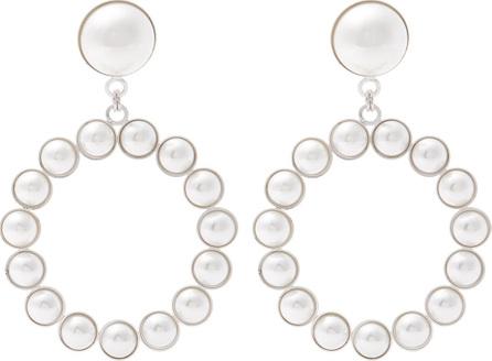 Alessandra Rich Faux-pearl embellished hoop-drop earrings