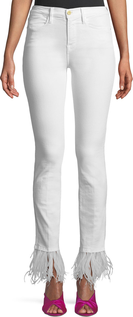 FRAME DENIM Le High-Rise Straight-Leg Jeans with Feather Hem