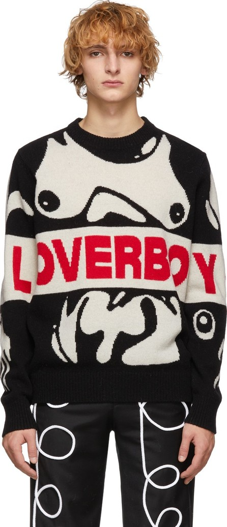 Charles Jeffrey Loverboy Black & White Wool Logo Sweater