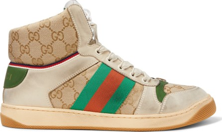 Gucci Screener Distressed Leather and Webbing High-Top Sneakers