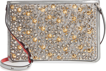 Christian Louboutin Loubiclutch Studded Glitter Crossbody Clutch