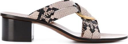 Chloe Ring embellished cross over sandals