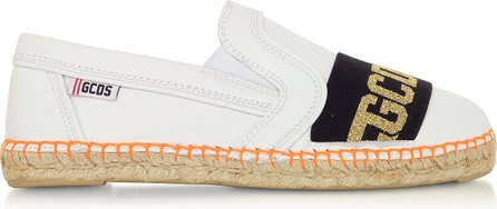 Gcds White Leather Signature Women's Espadrilles