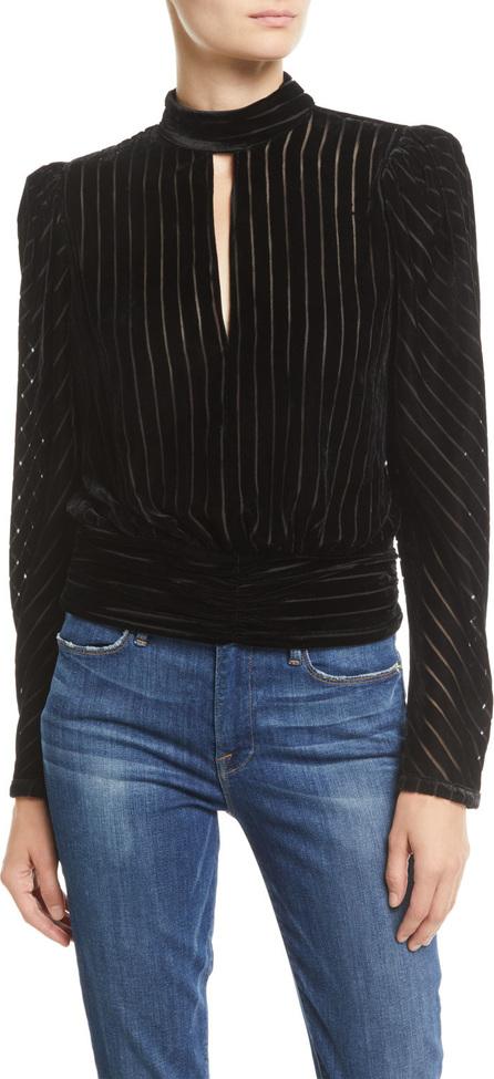 FRAME DENIM Velvet High-Neck Striped Long-Sleeve Party Top