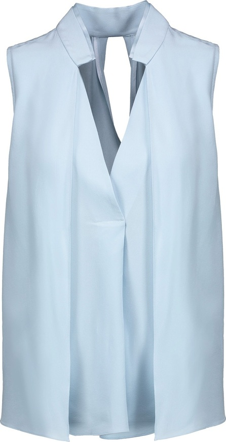 HALSTON HERITAGE Layered cutout washed-silk top
