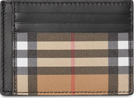 Burberry London England Vintage Check and Leather Money Clip Card Case