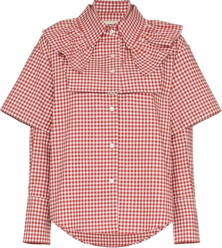 Shushu/Tong Double sleeve and ruffle gingham cotton shirt