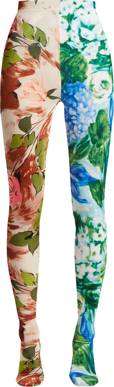 Richard Quinn Contrasting rose-print high-rise velvet leggings