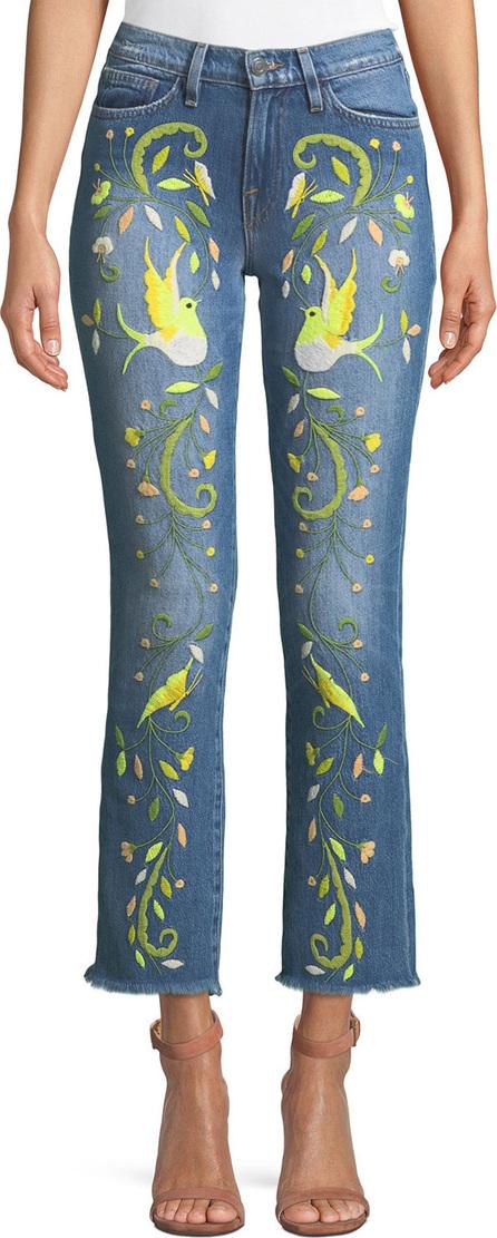 Etienne Marcel Embroidered Straight-Leg Jeans w/ Raw-Edge Hem