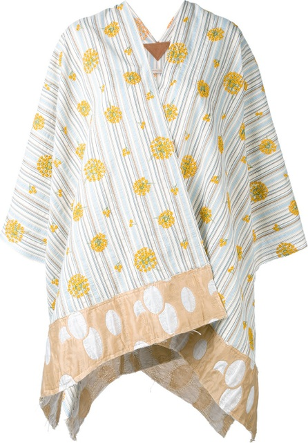 Ermanno Gallamini embroidered flowers poncho