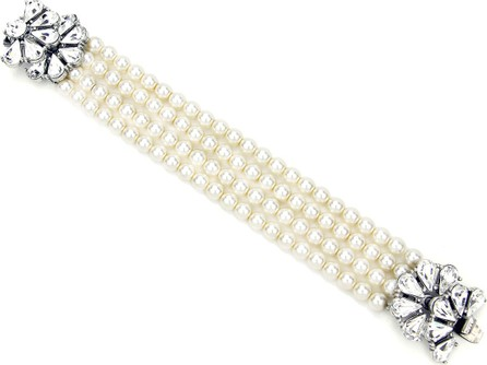 Ben-Amun Four-Row Pearly Beaded Fan-Motif Bracelet