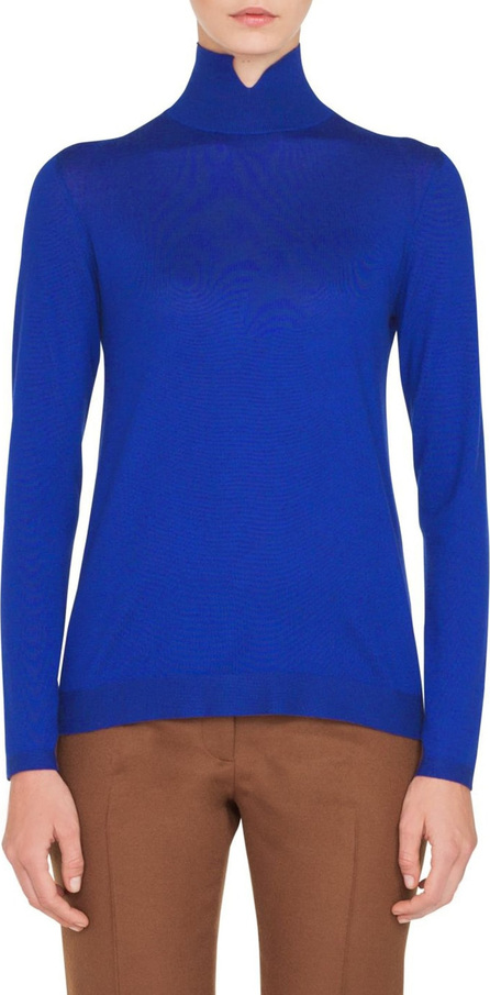 Akris Notch Mock Neck Cashmere & Silk Sweater
