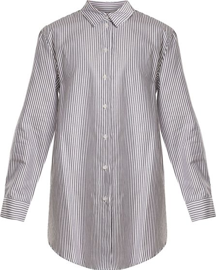 Asceno Point-collar striped silk-crepe shirtdress