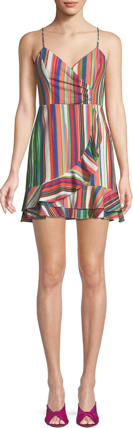 Parker Jay Sweetheart Sleeveless Striped Linen Dress