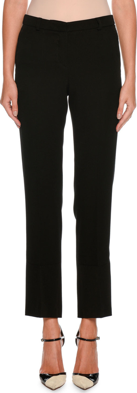 Giorgio Armani Straight-Leg Crop Wool Pants w/ Stitch Detail