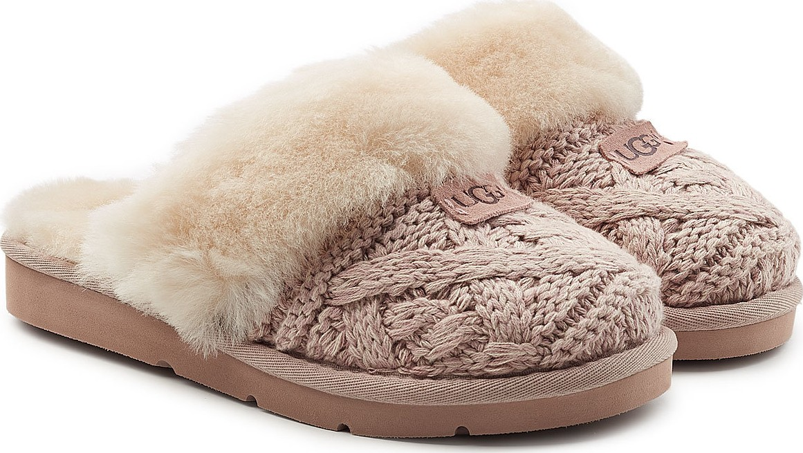 Ugg Cozy Knit Cable Slippers With Sheepskin In Beige Mkt