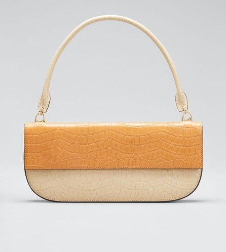 Danse Lente Two-Tone Embossed Leather Shoulder Bag