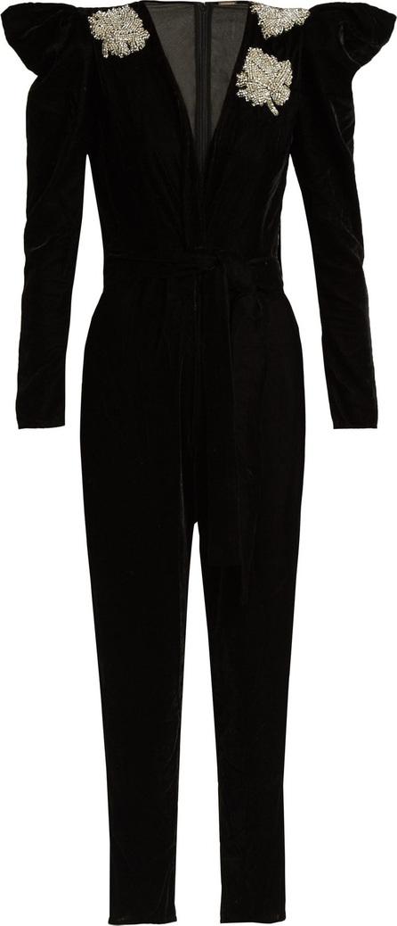 DODO BAR OR Madison crystal-embellished velvet jumpsuit