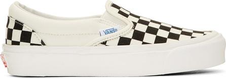 Vans Off-White & Black Checkerboard OG Classic Slip-On Sneakers