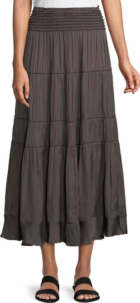 HALSTON HERITAGE Smocked-Waist A-Line Midi Skirt