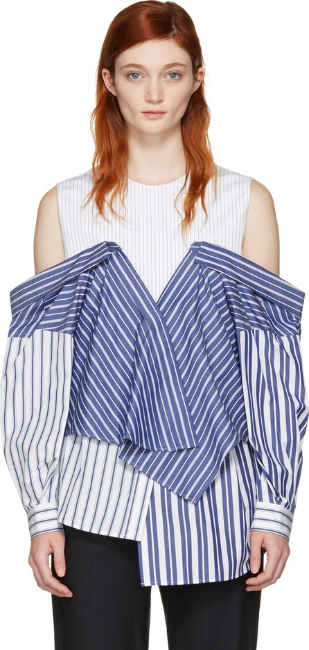 Enfold White & Navy Reconstructed Shirting Blouse