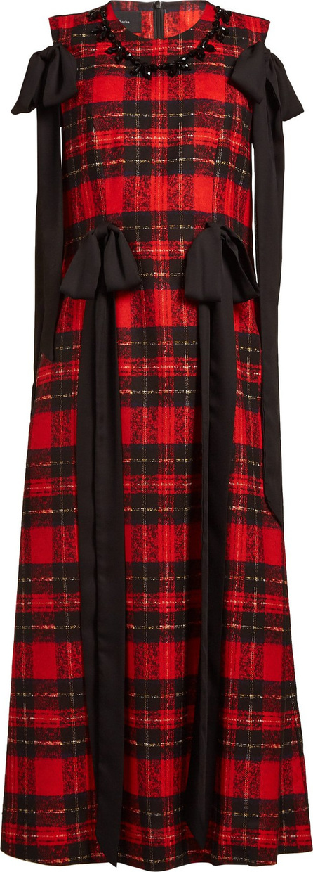 Simone Rocha Beaded and bow-trim tartan georgette dress
