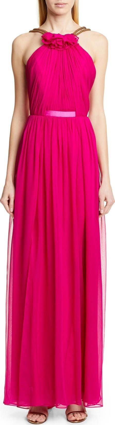 Haney Emeline Halter Silk Chiffon Evening Dress