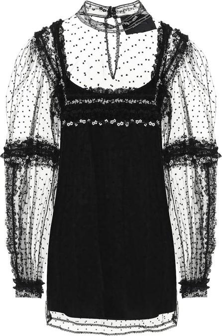 Costarellos Izabeth dotted tulle blouse